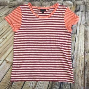 JCrew Top Size M Red/Orange Stripe